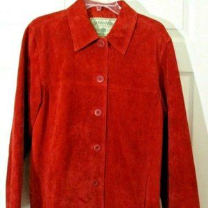 Washable Suede Leather Barn Coat sz M Rust Red